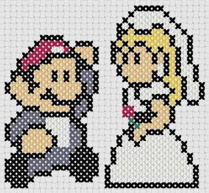 Preview of Super Mario Cross Stitch Pattern featuring Princess Peach