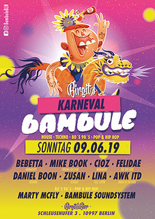 bambule,berlin,party,club,night,birgitundbier,birgit,Karneval der Kulturn,KDK,hip hop,house,techno,pop,openair,friedrichshain,kreuzberg,Bebetta, Mike Book,Zusan,Felidae,Daniel Boon,Lina,Monaberry,Criminal Bassline,CIOZ,Pfingstsonntag,Marty Mc Fly | by Bambule BLN