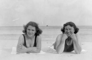 Women smiling at the seaside