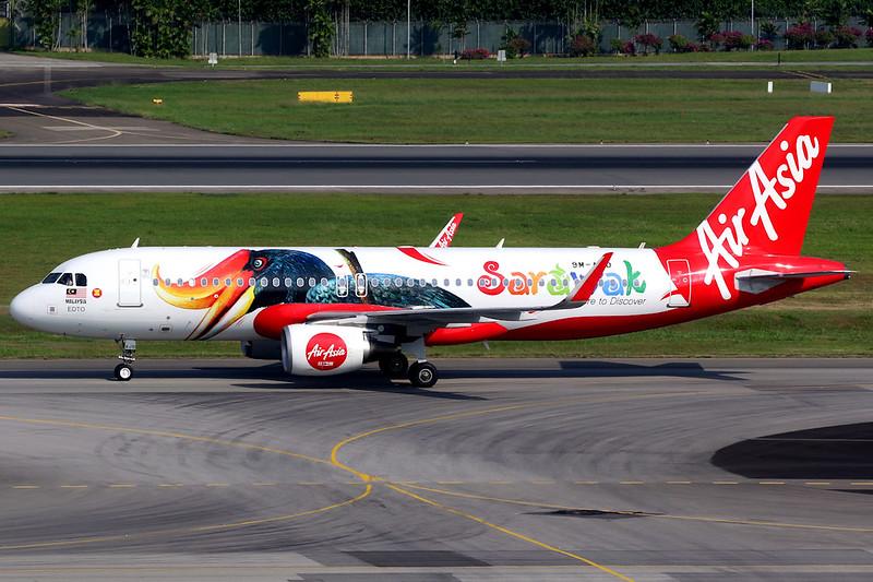 AirAsia | Airbus A320-200 | 9M-AJD | Sarawak livery | Singapore Changi