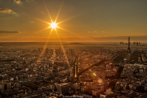 europe france goldenhour montparnassetower paris starburst sunset goldenlight