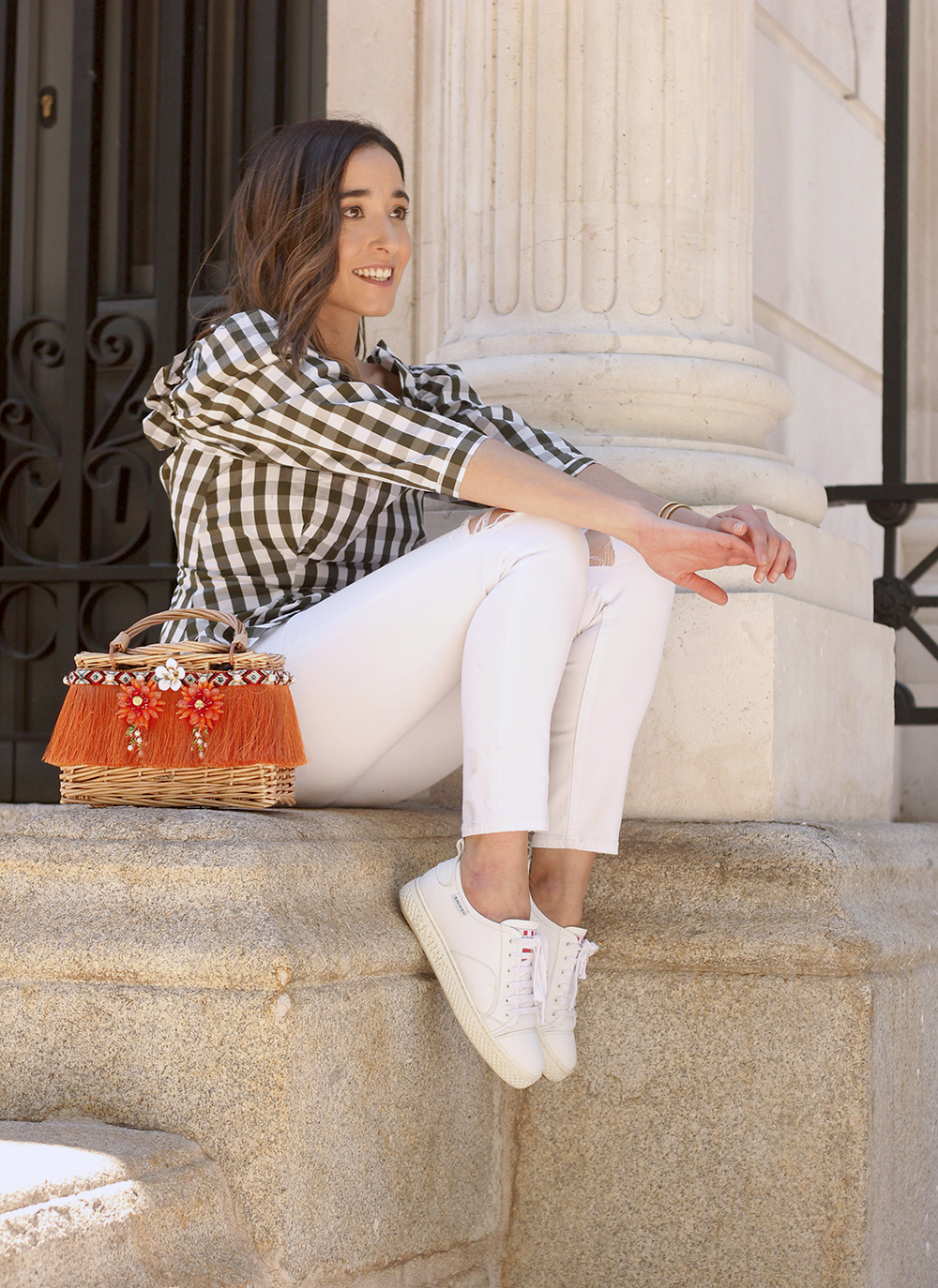 top vichy white jeans straw bag white sneakers summer 2019 street style outfit10