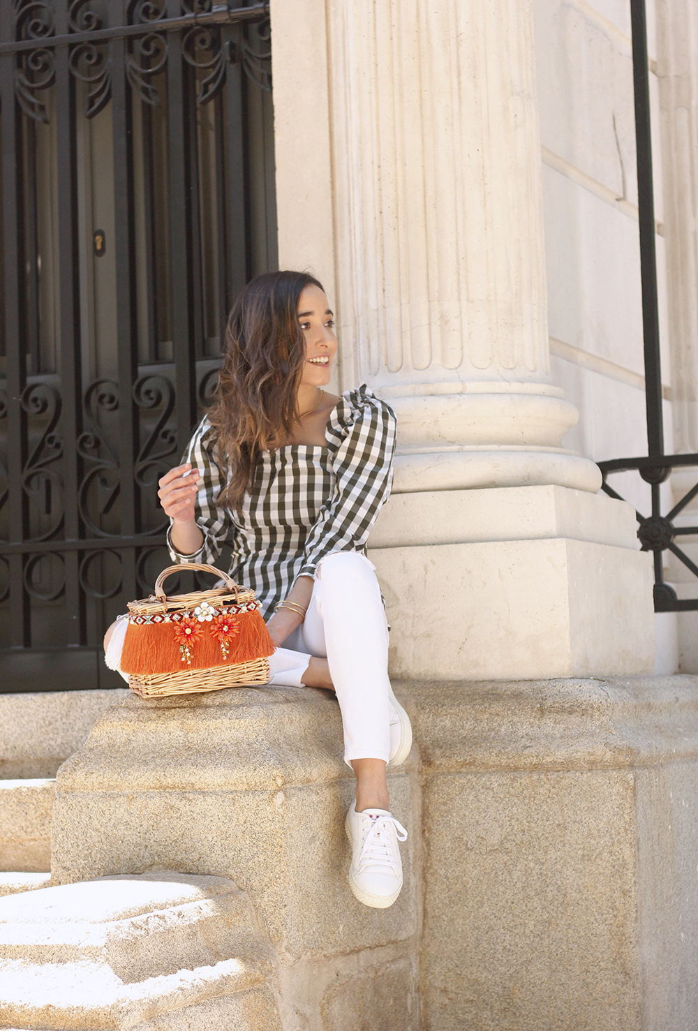 top vichy white jeans straw bag white sneakers summer 2019 street style outfit7