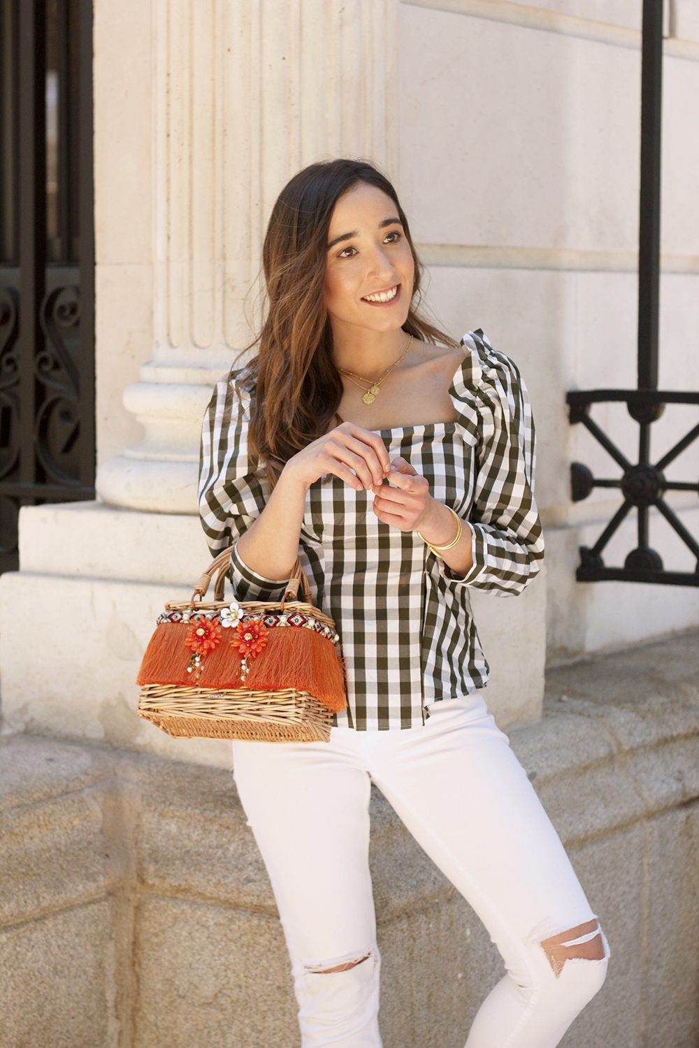 top vichy white jeans straw bag white sneakers summer 2019 street style outfit14