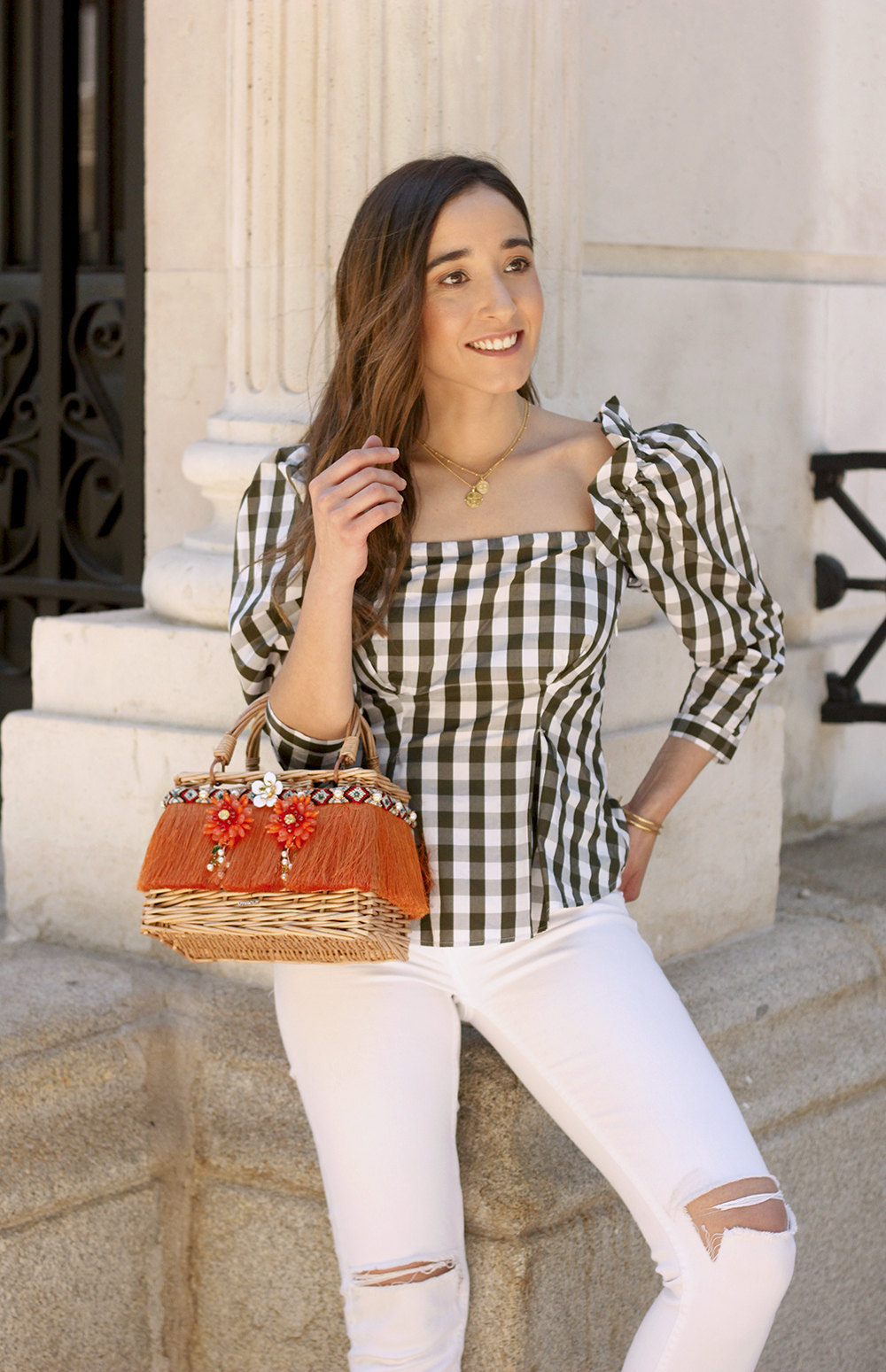 top vichy white jeans straw bag white sneakers summer 2019 street style outfit13