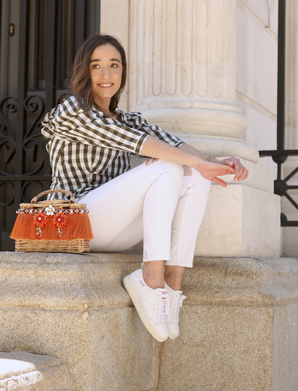 top vichy white jeans straw bag white sneakers summer 2019 street style outfit11