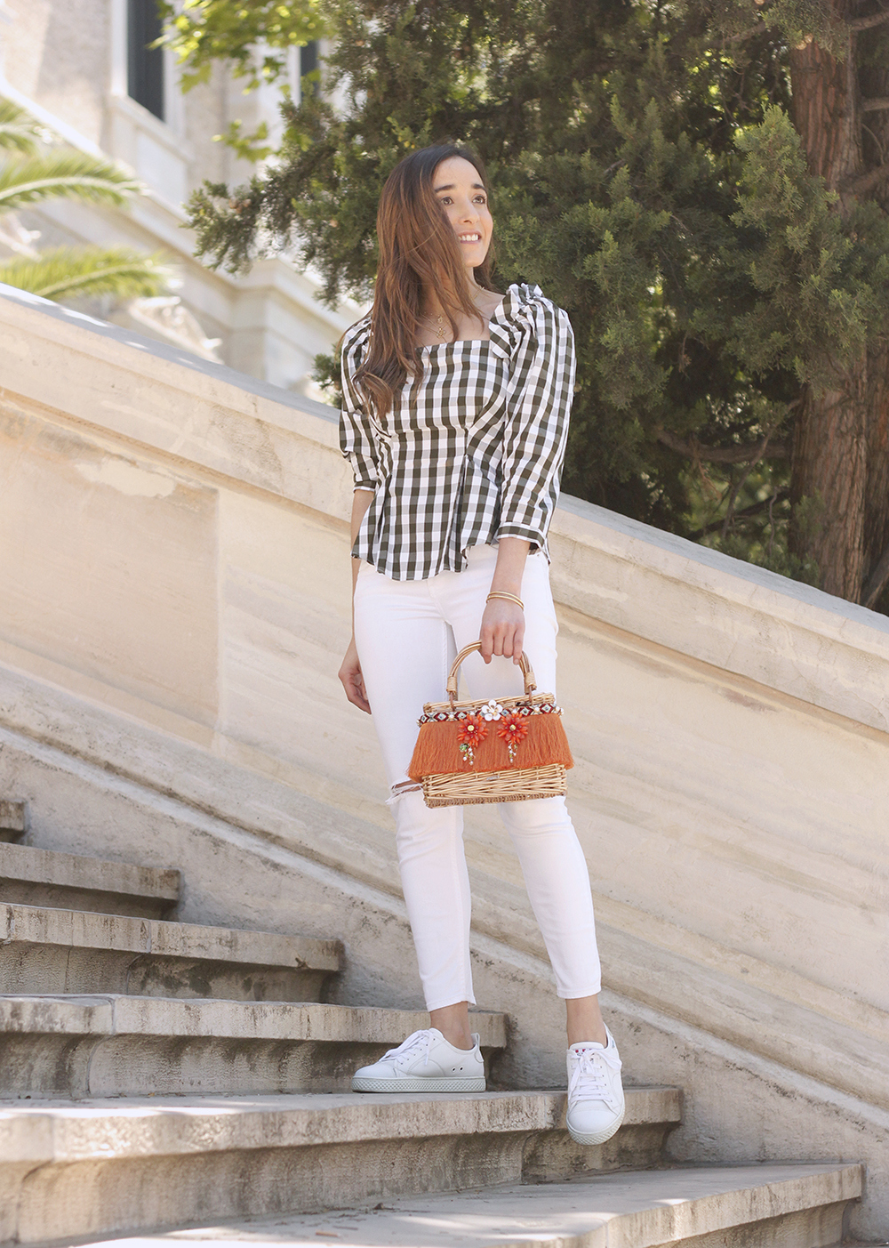top vichy white jeans straw bag white sneakers summer 2019 street style outfit4