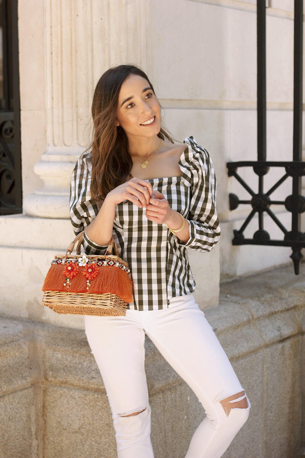 top vichy white jeans straw bag white sneakers summer 2019 street style outfit15