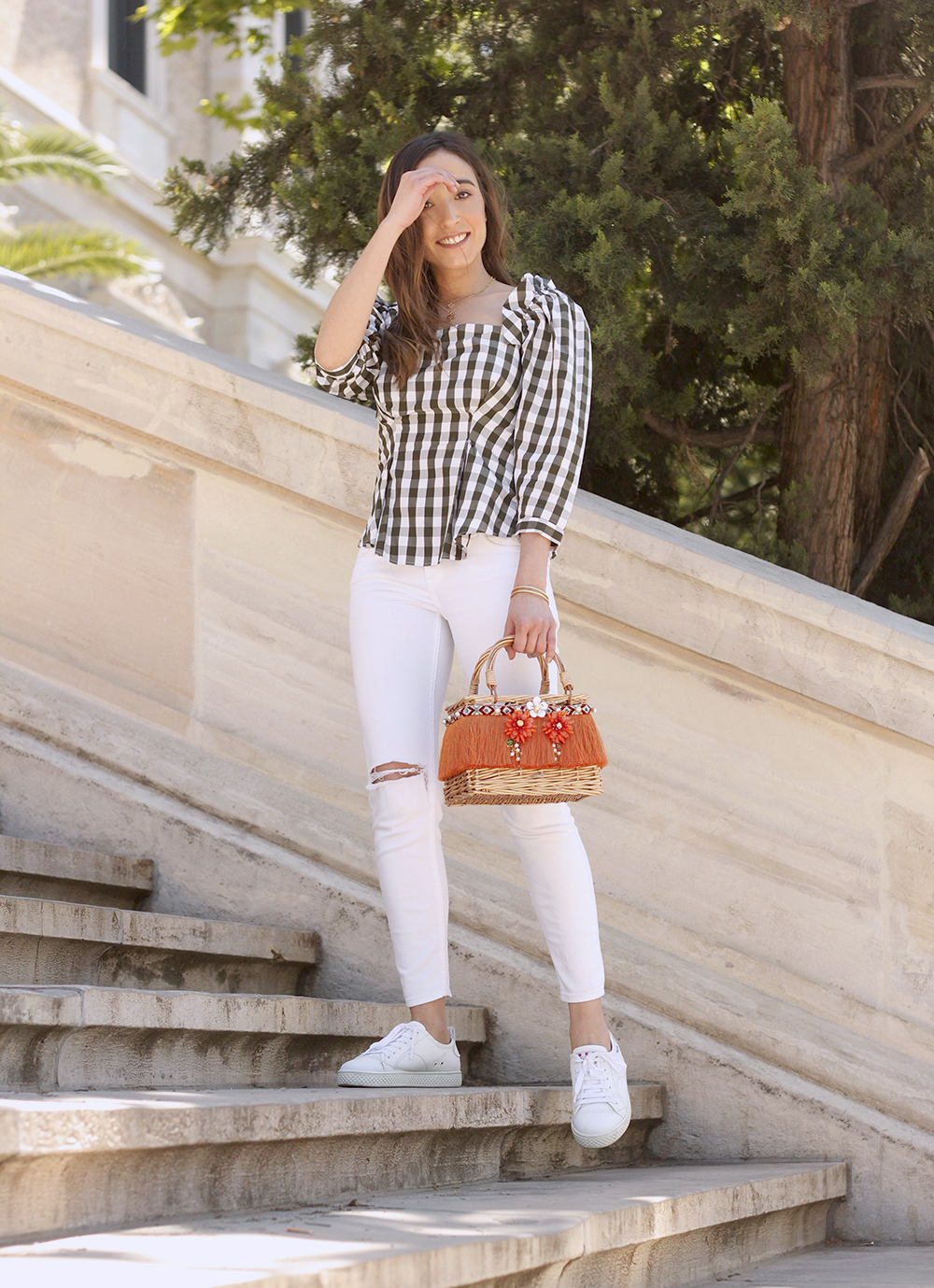 top vichy white jeans straw bag white sneakers summer 2019 street style outfit6