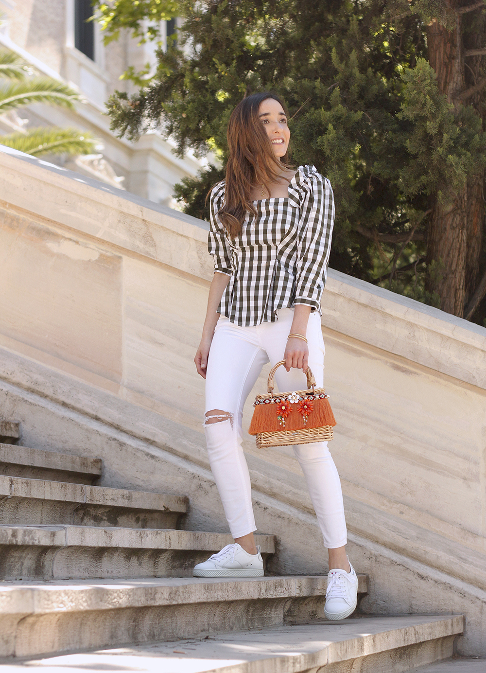 top vichy white jeans straw bag white sneakers summer 2019 street style outfit5