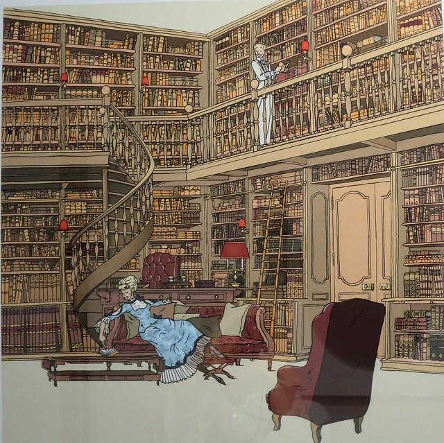 Odette et Swann dans la bibliothèque, illustration de Stéphane Heuet pour