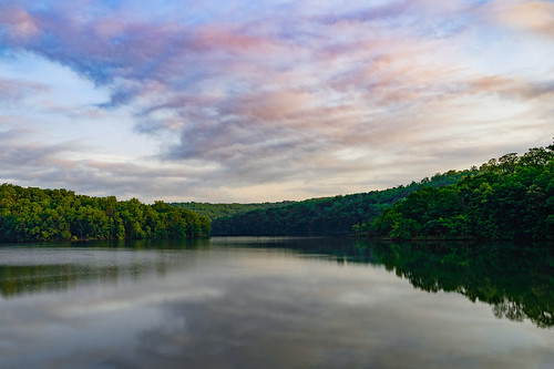 sony a7ii tamron prettyboy reservoir water lake sky clouds sunrise morning trees forest reflection