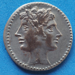 Ancient Roman Coin With Janus