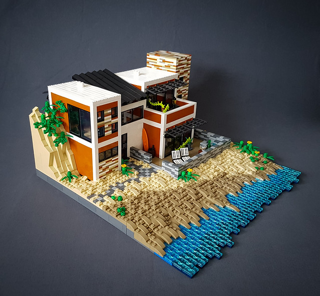 Orange Beach House MOC. Slightly from above.