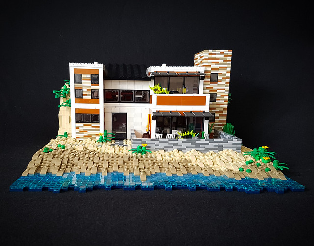 Orange Beach House MOC. Front with black background.