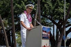 Rear Adm. Matthew Carter, deputy commander of U.S. Pacific Fleet, speaks during the 31st Annual Memorial Day Observance at the Waikiki War Memorial Natatorium. (U.S. Navy/MC2 Kenneth Rodriguez Santiago)