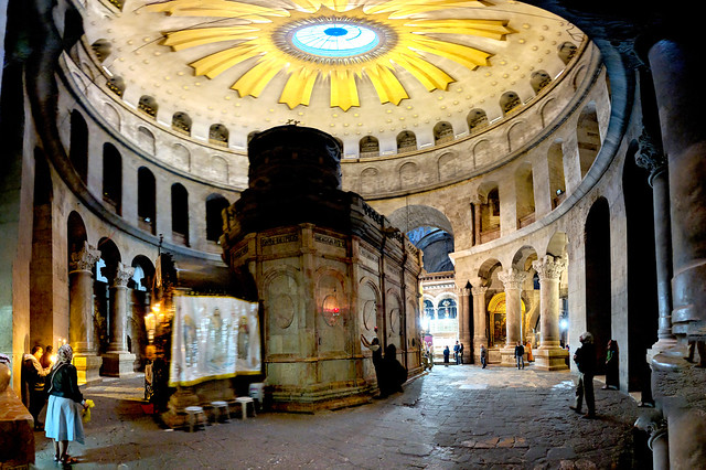 Day 8p - a few days later in Jerusalem's Church of Holy Sepulcher I wanted to tell everyone there to walk the Path of Abraham if they really wanted to be in a sacred place