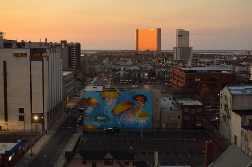 atlanticcity nj newjersey 2019 march casino mural sunset architecture