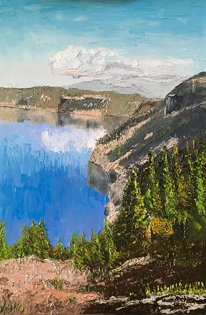 Started a new hobby... my first painting.  2x3 ft.  Crater Lake.  Painted alla prima, en plein air using two palette knives.