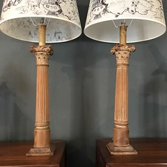 A Pair of C19th Italian Walnut Column Lamps With Corinthian Capitols