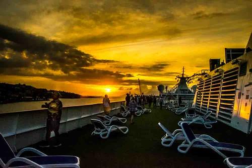 nikon5300 columbus cruise deck frenchpolynesia outdoor ship sunset tahiti tourist worldcruise 201902061829280 pacific town pape'ete