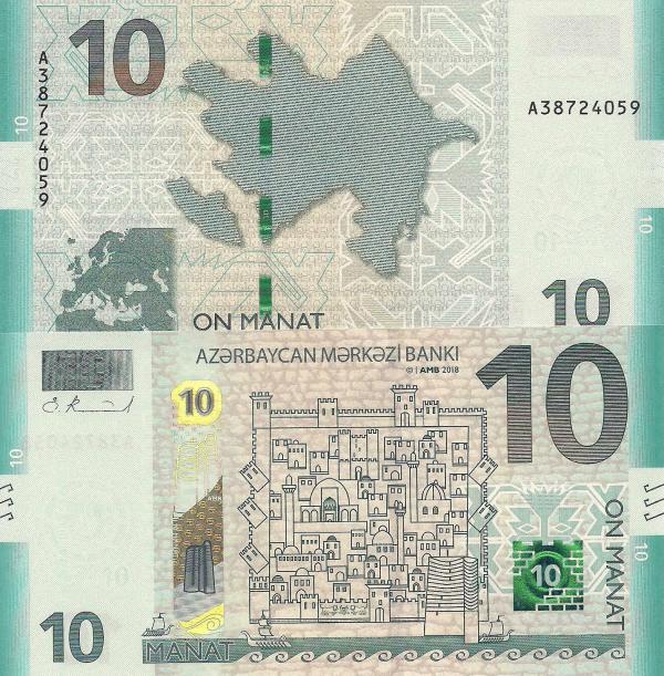 10 Manat Azerbajdžan 2018 P33