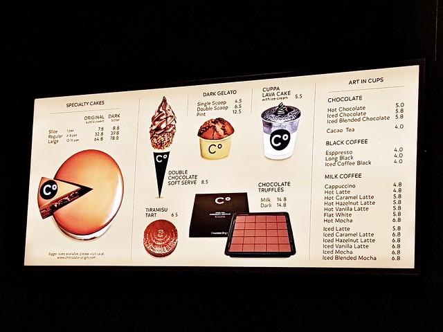 Chocolate Origin Menu
