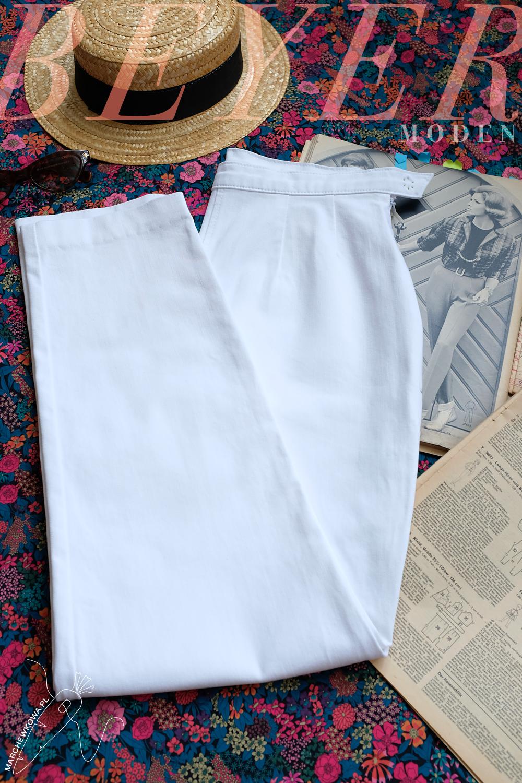 marchewkowa szyje, szycie, krawiectwo, rękodzieło, Wrocław, retro, vintage, stare wykroje, cygaretki, biały jeans, denim, sewing DIY, handmade, 1960s, patterns, pants, Beyer Moden 6/1963