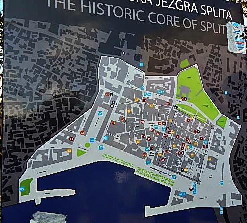 Map of the Historic Core of Split, Croatia