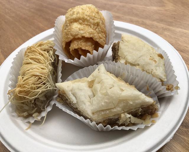 Diples (top), baklava (right) and kadaif (left)
