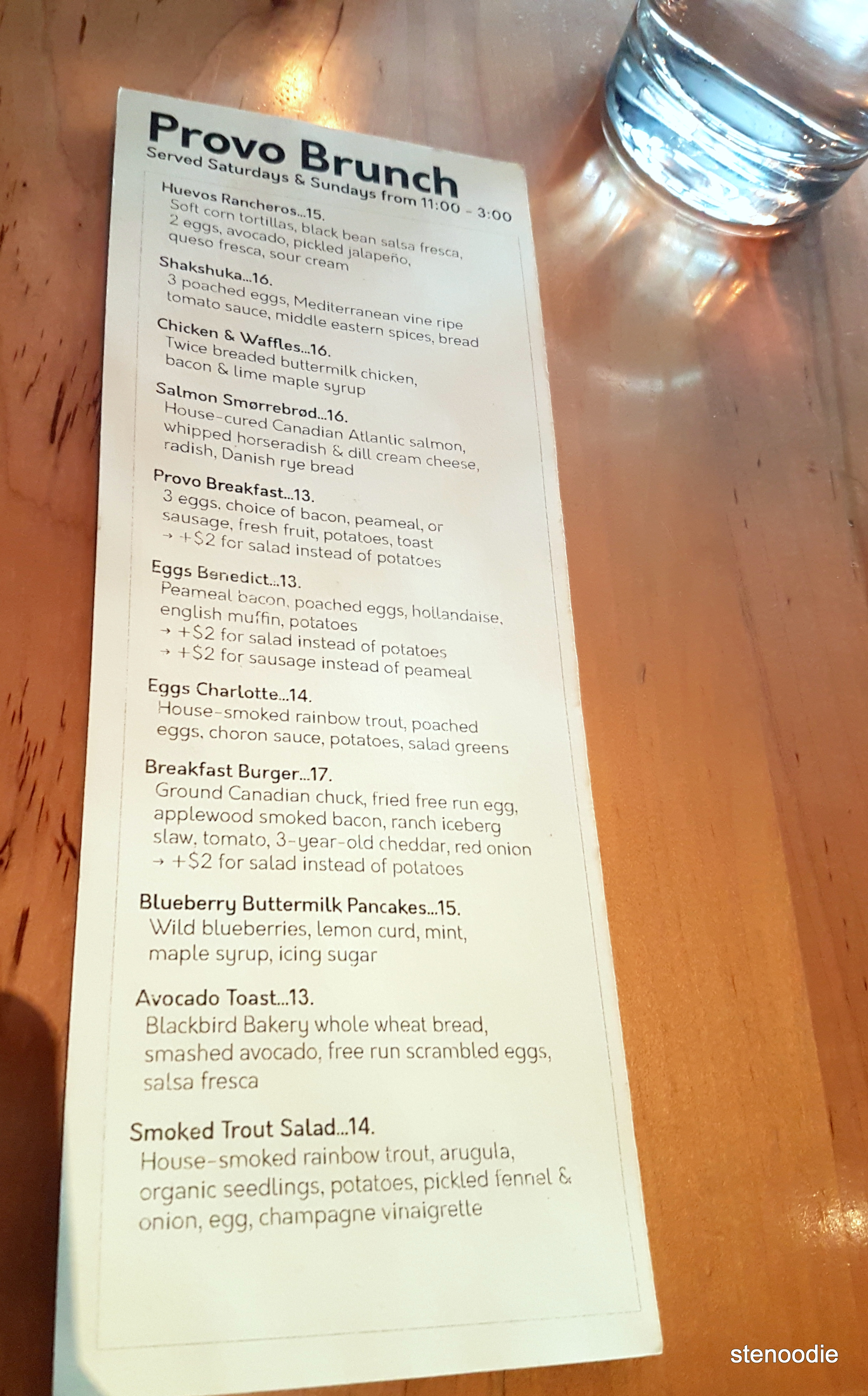 Provo FoodBar brunch menu and prices