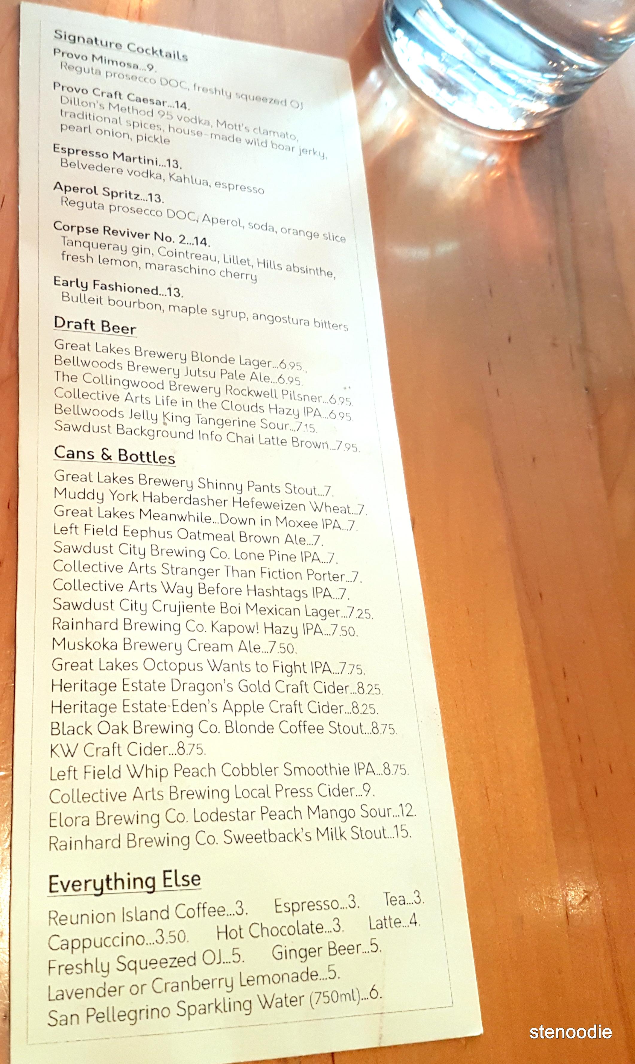 Provo FoodBar drinks menu and prices
