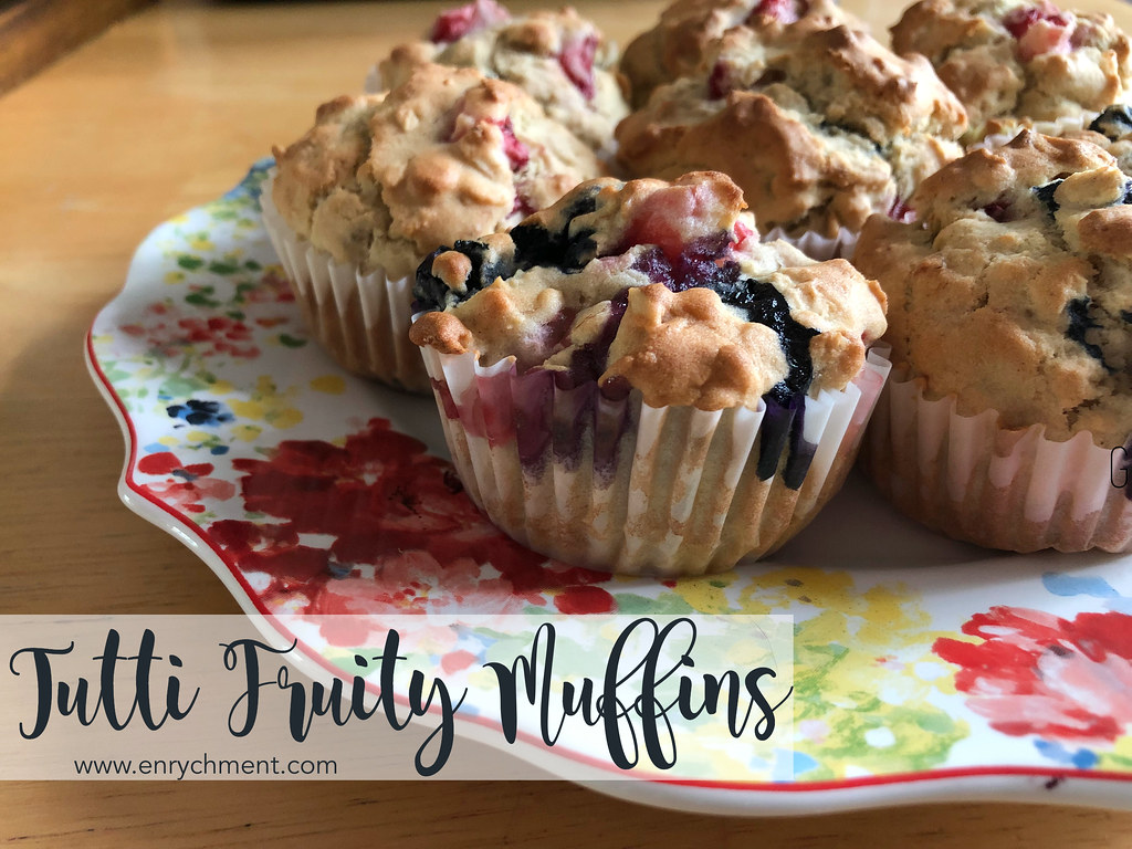 Gluten Free Tutti Fruity Berry Muffins | www.enrychment.com #glutenfree #gfbaking