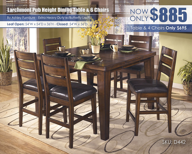 Larchmont Pub Height Table & 6 Chairs_D442-32-124(6)-SD