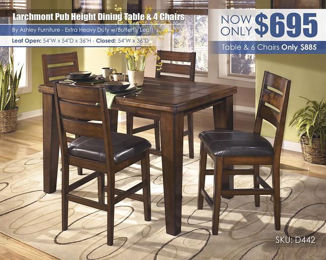 Larchmont Pub Height Table & 4 Chairs_D442-32-124(4)-SD