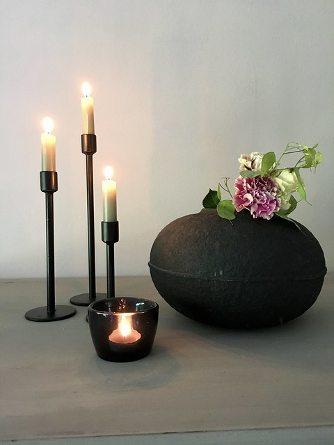 Zwart kruikje kandelaars waxinelichtje