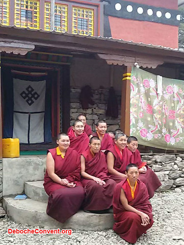 Deboche nuns in front of Deboche. From Daniel Mazur and the redemption of Mt. Everest