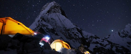 Camp light at Everest. From Daniel Mazur and the redemption of Mt. Everest