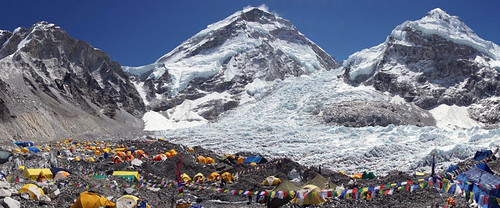 Everest basecamp with lots of tents. From Daniel Mazur and the redemption of Mt. Everest