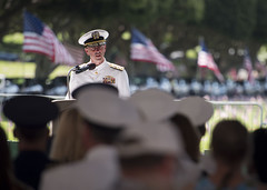 Chief of Naval Operations Adm. John Richardson delivers remarks during the Mayor's Memorial Day Ceremony at the National Cemetery of the Pacific at Punchbowl. (U.S. Navy/MC1 Nathan Laird)