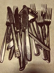 Knives, forks, and a spoon. 27May2019