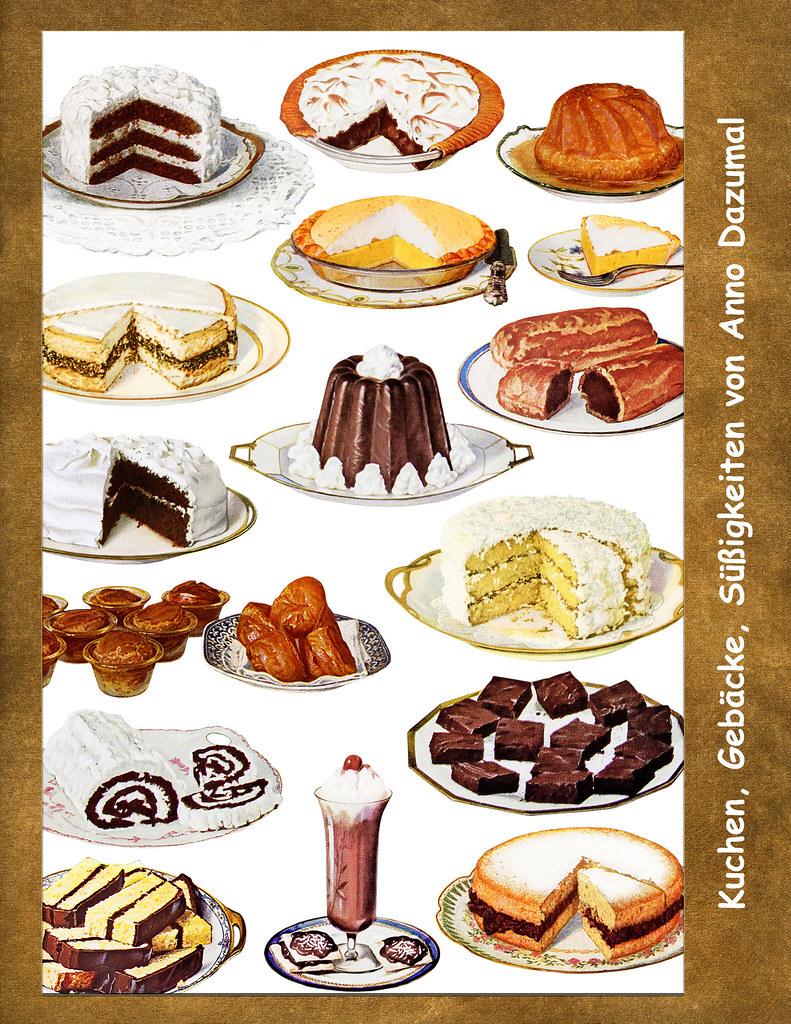 Seite aus einem englischen Kochbuch um 1900 ... Kuchen, Gebäcke, Süßigkeiten von anno dazumal