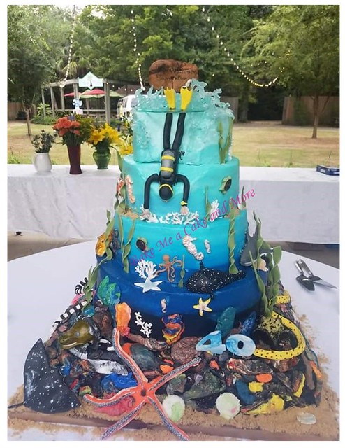 Scuba Diving Cake that Glowed under Blacklight by Charlotte Messer VanMol of Bake Me a Cake and More - Nanna's Keto Goodies