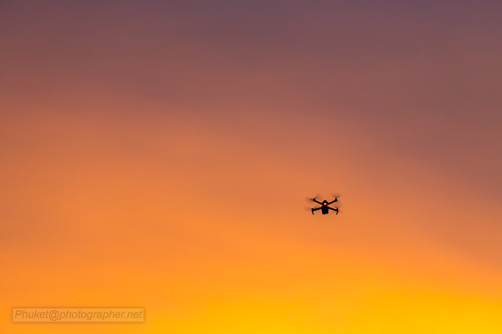 Drone in the sky at sunset, Phuket, Thailand - ++++ 5.000 ...