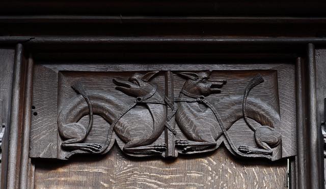 Christchurch, Dorset, priory church, stalls, animal seat back