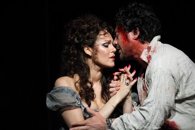Kristine Opolais as Floria Tosca and Vittorio Grigolo as Mario Cavaradossi in Tosca, The Royal Opera © 2019 ROH. Photograph by Catherine Ashmore