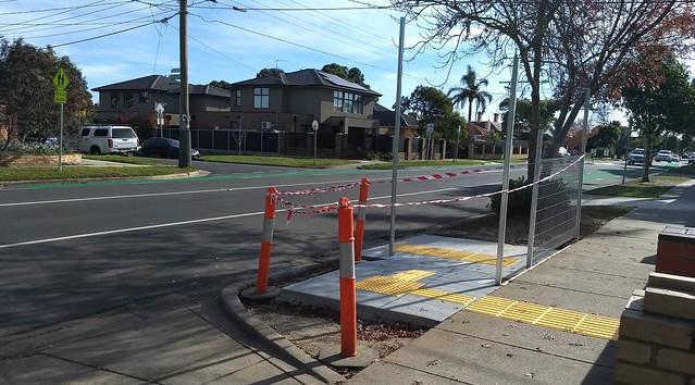 Route 627 bus stop under construction
