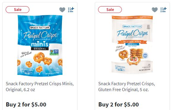 1 2 Snack Factory Pretzel Crisps Coupon 1 74 2 00 At Walmart