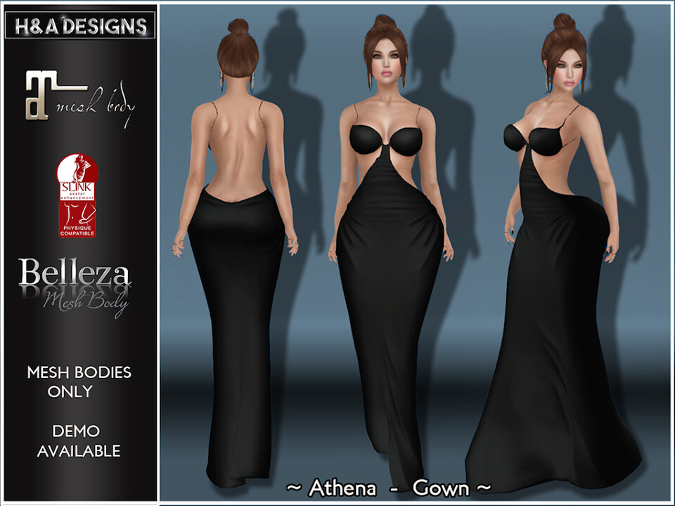 [H&A Designs]-Athena Dress Black