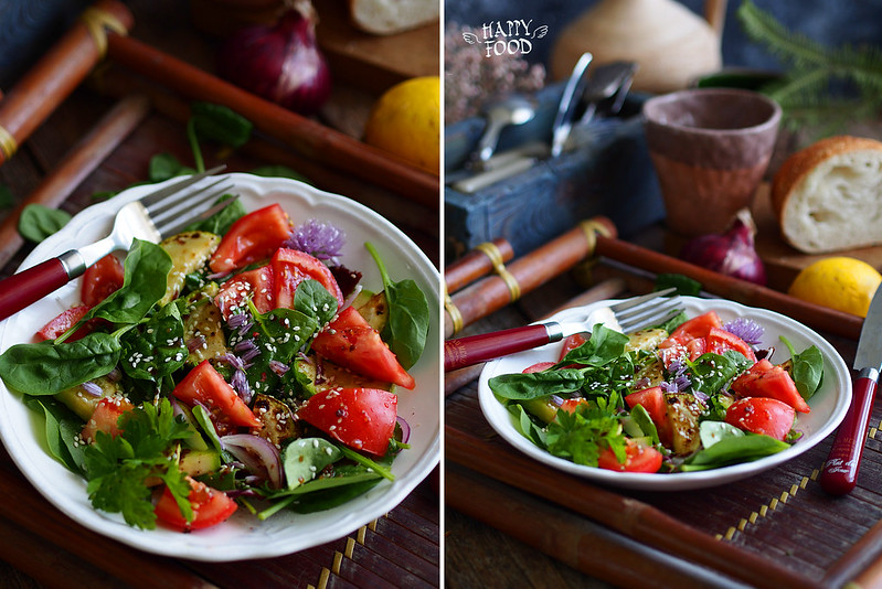 Пряный салат с кабачками , томатами и шпинатом (веган)